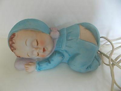 Vintage Ceramic Baby Nursery Night Light/Lamp Sleeping Baby with Flap Open WORKS