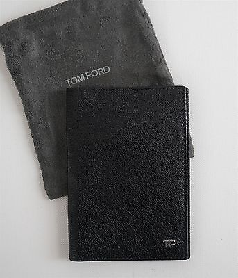 Authentic TOM FORD Genuine Leather Black PASSPORT HOLDER Case Wallet