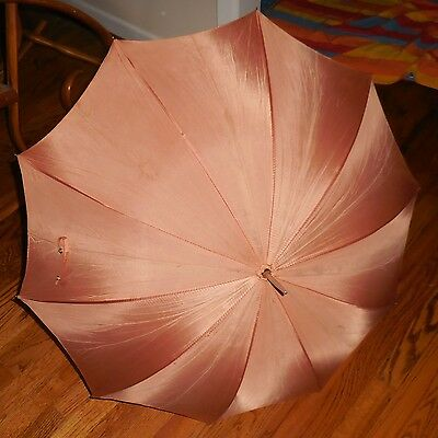 Vintage Silk and Leather Parasol in Peach