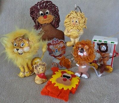 Lot of 8 Lion Ornaments De Sela Wood Fabric Stained Glass etc ~ FREE SHIPPING