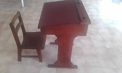 Vintage childrens flip top school desk with chair and inkwell