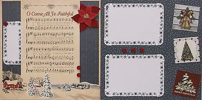 O Come All Ye Faithful Christmas Scrapbook 2 Pages Premade 12x12 Poinsettia