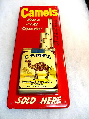 Vintage Camel Cigarette Advertising Tin Sign Thermometer