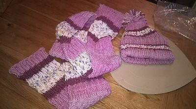 Unique Hand knitted hat and scarf set.
