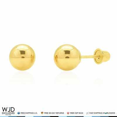 cc5e90f70 14k Solid Yellow Gold High Polish Screwback Round Ball Stud Earrings 6mm