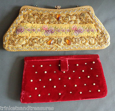 2 Vintage 1950s Evening Clutch Purses Red Velvet Rhinestone Beaded Tapestry USA