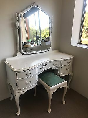 Vintage Dressing Table With Mirror & Stool
