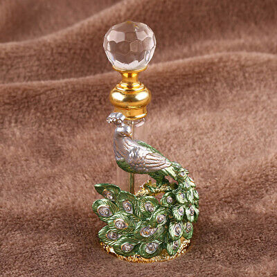 Vintage Green Peacock Glass Crystal Metal Perfume Bottle Empty Lady Gifts 10ml