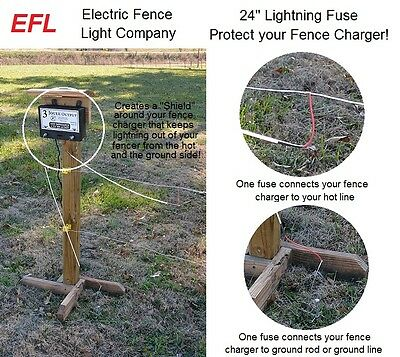 "24"" Electric Fence Charger Lightning Fuse 2 Pack & Lightning Diverter"