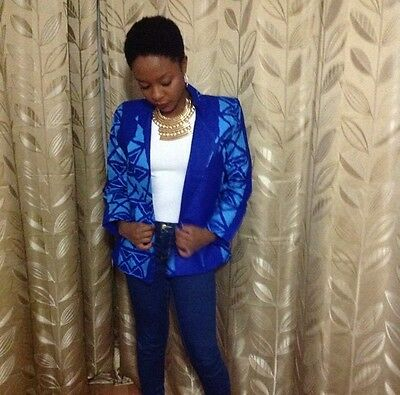 Blazer, african material, 100%cotton size 12