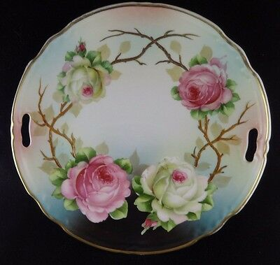 """Antique Germany Hand Painted 10.5"""" Handled Plate ROSES"""
