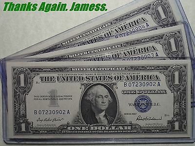 (#120) 3 Consecutive Uncirculated 1957 Blue Seal Silver Certificates