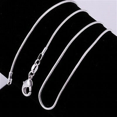 """5 pcs 925 Sterling Silver 18"""" 1mm Snake Chain Necklaces~ New"""
