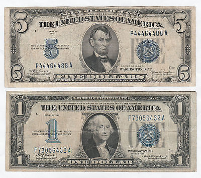Circulated 1934 $1 and 1934-C $5 Silver Certificates--Ungraded, Funny Back