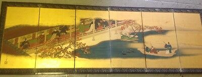 Antique 19th Century Japanese Byobu 6 Panel Screen - hand painted, gold, lacquer