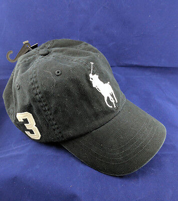 NEW Polo Ralph Lauren Black Big Pony Baseball Hat Cap Leather Adjustable Strap