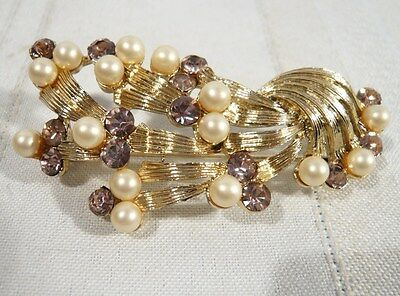 Vintage Coro Gold Color with Amethyst Color Stones & Faux Pearls Signed  Brooch