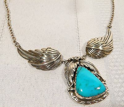 EARLY Signed NAVAJO Necklace SILVER & Turquoise LES BAKER Native American 22.4 g