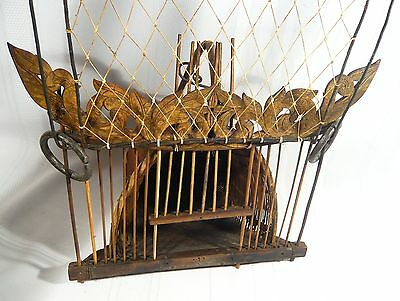 Rare Antique Chinese Traveling BIRD CAGE Primitive Hand made woven Basket