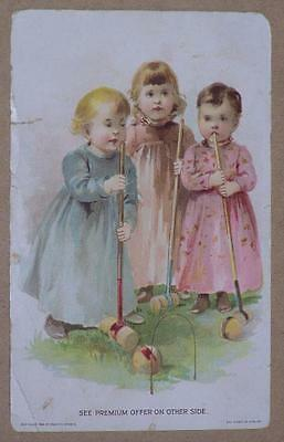 1894 Lion Coffee Victorian Trade Card, 3 Girls Playing Croquet