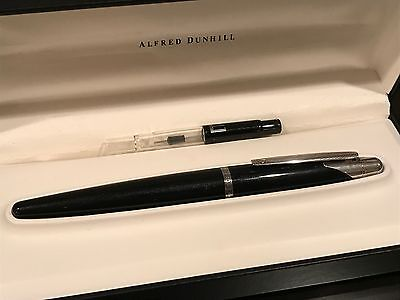 Alfred Dunhill AD2000 Black & Silver Fountain Pen (Full Set) - MINT CONDITION