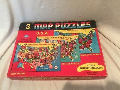 3 vintage Childrens Map Puzzles in box /Built Rite Toy 1960's
