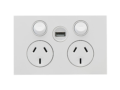 Clipsal Saturn Zen Double GPO with Single USB