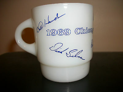 1969 Chicago Cubs Battery Autographed Coffee Cup Mug Anchor Hocking Fire King GU