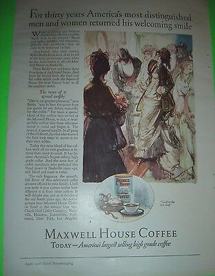 Maxwell House Coffee Vintage April 1926 Magazine Ad