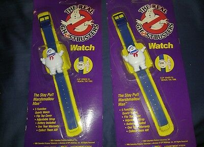 2 THE REAL GHOSTBUSTERS Vintage 1989 STAY PUFT Figure Digital Watches SEALED