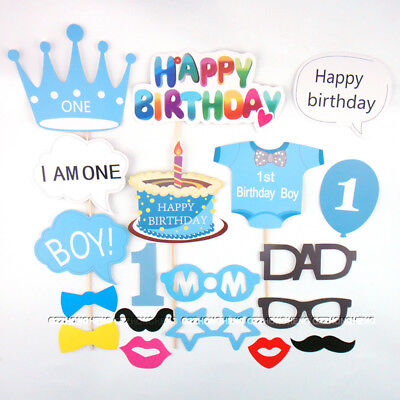 25pcs 1st First Birthday Photo Booth Props Boy Baby Shower Party Photography