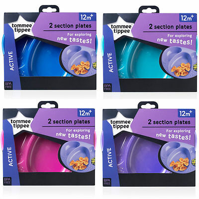 New Colours!! Tommee Tippee Pack of 2 Explora Section Plates. New