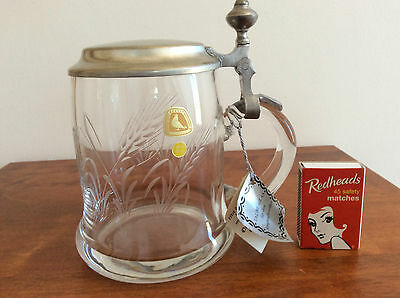 Alfred Taube Crystal & Pewter Stein. Hand Crafted. Unused w/- Labels.