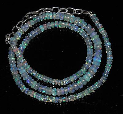 """47 Carat 17"""" 3 to 5.5 mm Natural Ethiopian  Fire Opal Beads Necklace --99006"""