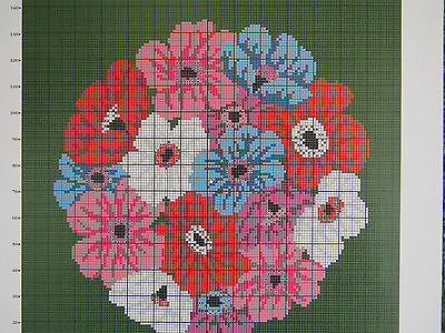 Beth Russell ANEMONES needlepoint tapestry chart pattern only flowers floral