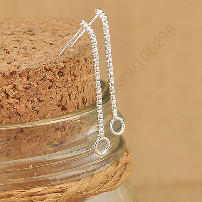 UK SELLER 1 PAIR 2pcs 925 Sterling Silver Jewelry Box  Chain Long Design wires