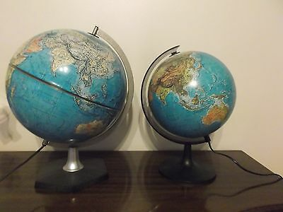 Vintage Large Metal 1972 Scan Globe A/S Illuminated Denmark World Geography Lamp