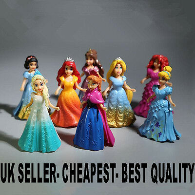 8pcs Cute Princess Action Figures Changed Dress Doll Kids Toy Gift