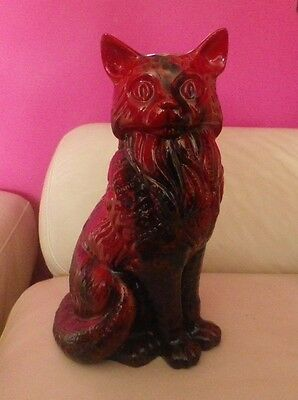 Rare Royal Doulton Large Flambe Cat - Seated Style Two - Perfect !!