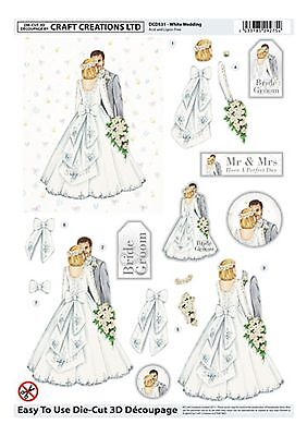 "3D Die Cut Decoupage ""WHITE WEDDING"" (DCD531) A4 Sheet"