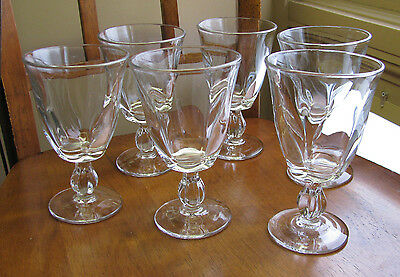 "Duncan & Miller #115 Canterbury Heavy Pressed 6"" Water Goblets LOT 8"