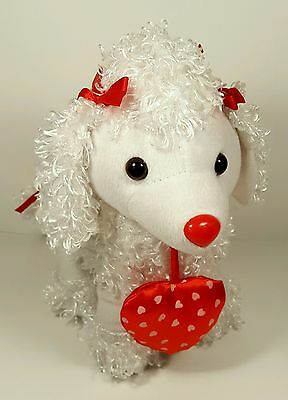 """CURLY VALENTINE WHITE PLUSH POODLE 9""""Tall"""