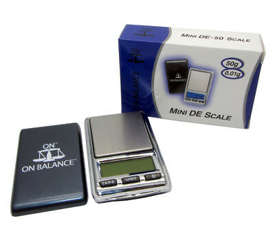 Mini Pocket Scale 50g x 0.01g On Balance DE-50 Palm Digital Scales UK