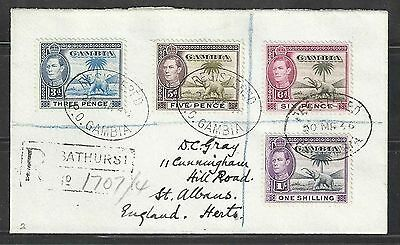 gambia 1938-46 elephant stamps x 4 on cover  including 1/- shilling      a12.11