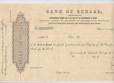 bank of bengal share certificate mint very very rare      5.24.23