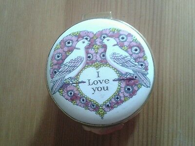 Crummles Enamels I Love You Love Birds Enamel Box