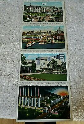 Vintage 1937 Postcards Great Lakes Exposition Cleveland, Ohio - Lot of 4
