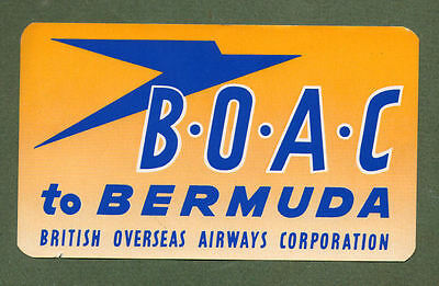 B.O.A.C. Airline luggage label Baggage Label BERMUDA #420
