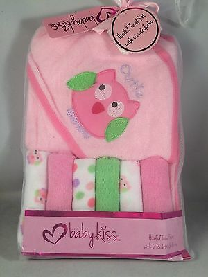 New Baby Kiss Hooded Towel & Washcloth Gift Set Girls Pink Shower Cutie Owl
