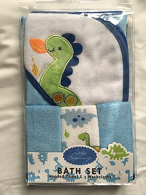 Hooded Towel & 3 Washcloth Gift Set Boys Blue Green Shower Dinosaur Baby Bath